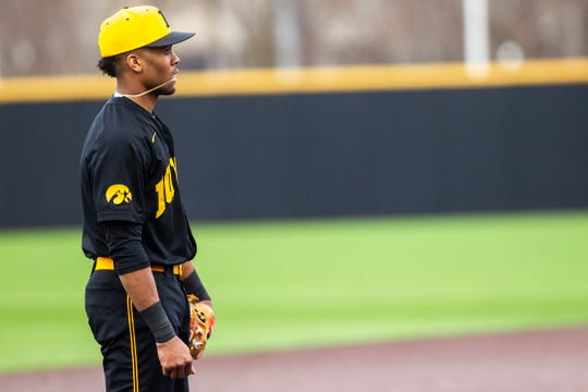 Iowa infielder Lorenzo Elion (1) stands on third between batters during a NCAA non conference baseball game on Tuesday, March 19, 2019, at Duane Banks Field in Iowa City, Iowa.
