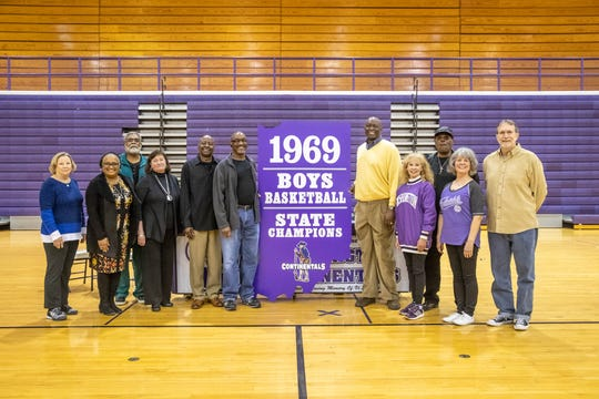 Members of the 1969 Washington High School Continentals Boys Basketball Championship Team, an members of the 1969 Cheer Squad reunite at Washington High School in Indianapolis to discuss the season with the IndyStar on Tuesday, March 12, 2019.