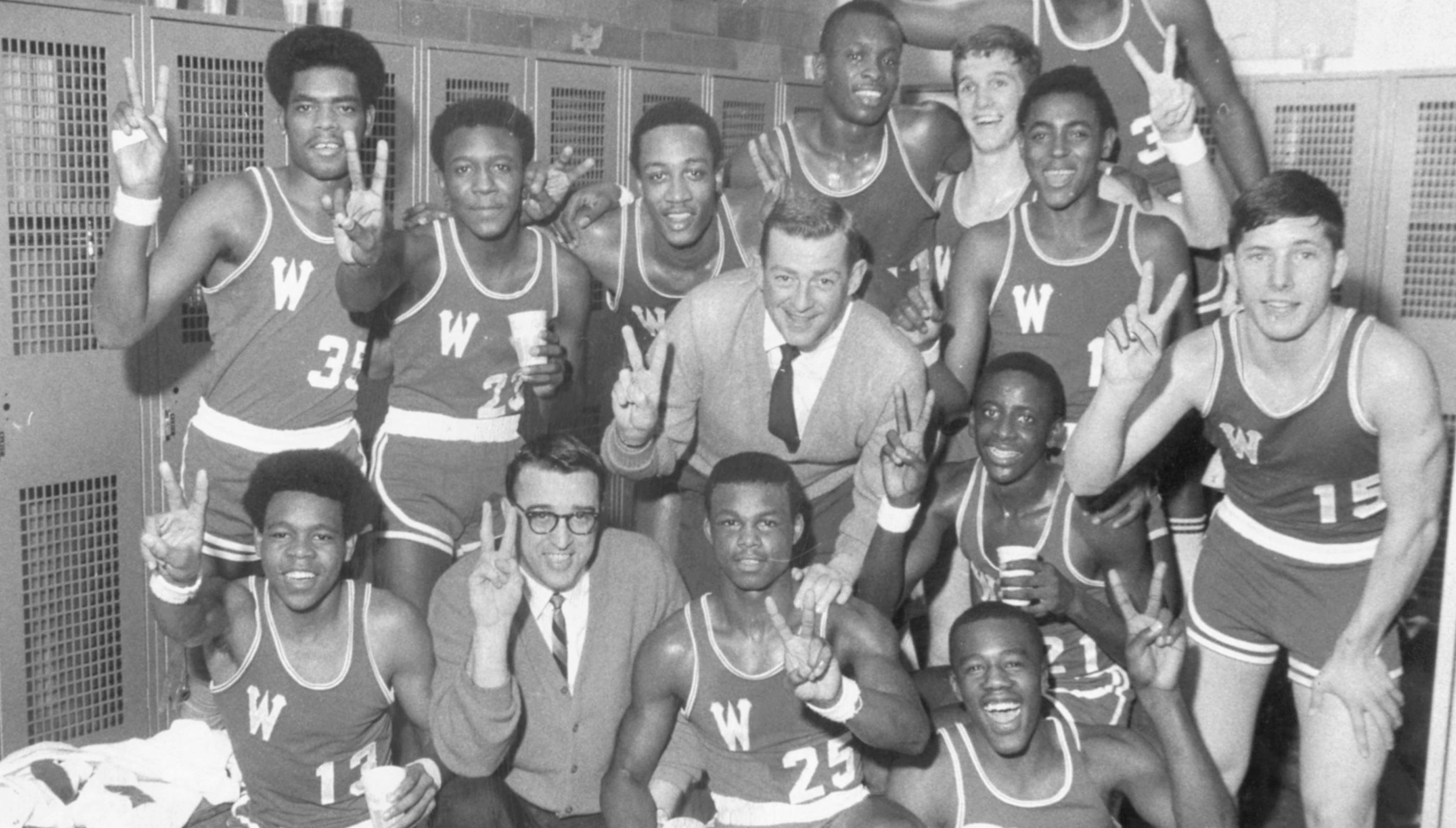 1969 Washington Continentals: Front row, left to right: Harvey Galbreath, Assistant Coach Basil Sfreddo, Louie Day and Steve Stanfield; middle row, Coach Bill Green, Wayne ack and Alan Glaze; back row, Ken Carter, Abner Nibbs, George McGinnis, Steve Downing, James Arnold, James Riley and Kenneth Parks.