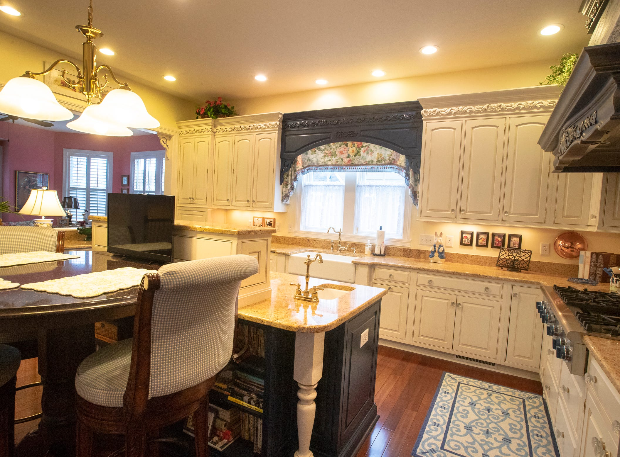 The kitchen inside a thirteen-year-old Victorian home in the Village of West Clay, Carmel, March 20, 2019. The house includes 16 rooms with five bedrooms, 8,348 square feet, and is listed at $1.275 million.
