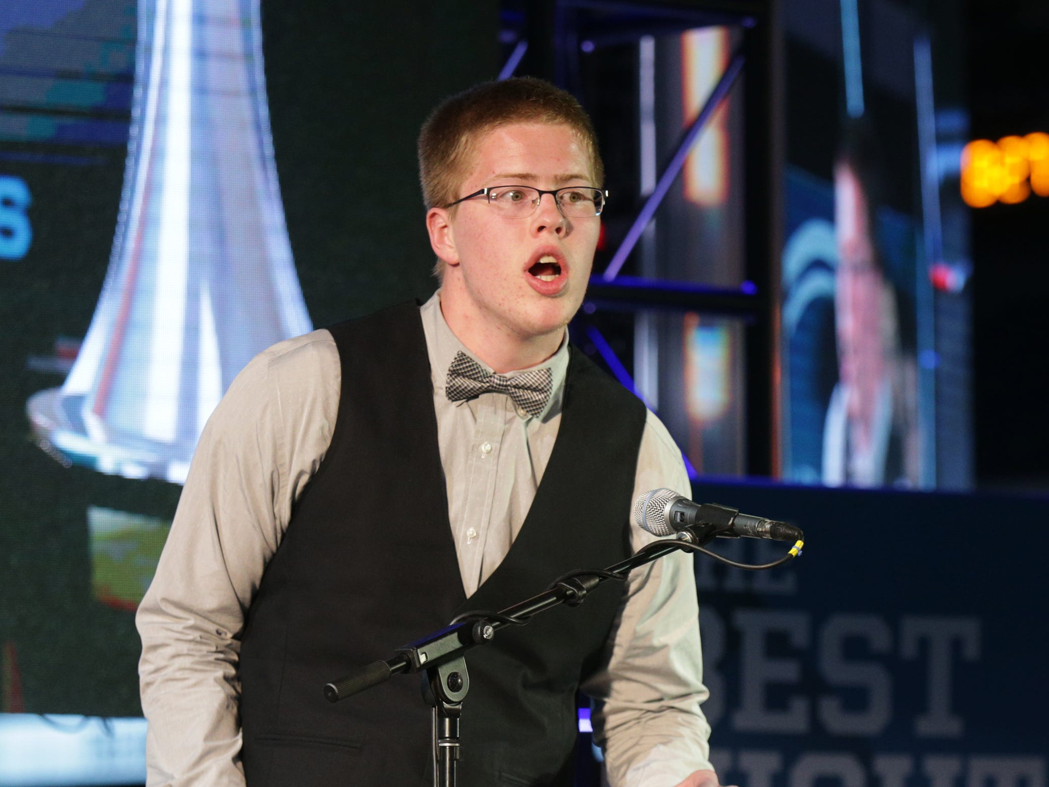 Columbus North High School basketball standout Josh Speidel presented the award for Courage Award. IndyStar held the Indiana Sports Awards, Thursday, April 28, 2016 at Lucas Oil Stadium where they honored the outstanding accomplishments of 200+ high school athletes in 28 sports. The featured guest speaker was Indianapolis Colts' quarterback Andrew Luck. The evening's host was WNBA Indiana Fever Head Coach Stephanie White. Celebrity presenters included Indiana Fever All-Star Tamika Catchings, IndyCar driver Ed Carpenter and IndyStar's own sports columnist Gregg Doyel.