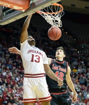 Indiana Hoosiers forward Juwan Morgan (13) dunks the ball during the game against St. Francis (Pa.) at Simon Skjodt Assembly Hall in Bloomington Ind., on Tuesday, March 19, 2019.