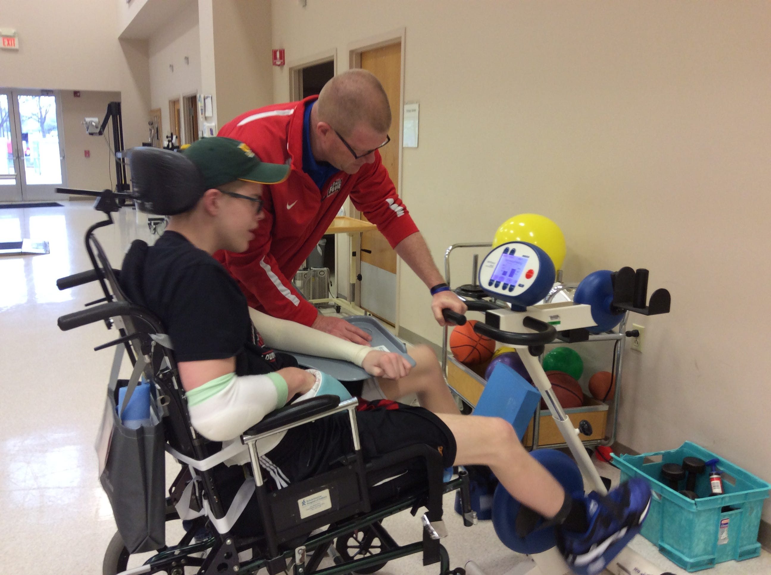 Josh Speidel works out at The Rehabilitation Hospital of Indiana in Indianapolis.