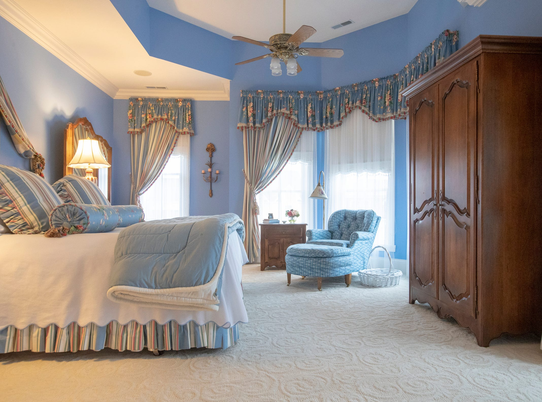 The master bedroom in a thirteen-year-old Victorian home in the Village of West Clay, Carmel, March 20, 2019. The house includes 16 rooms with five bedrooms, 8,348 square feet, and is listed at $1.275 million.