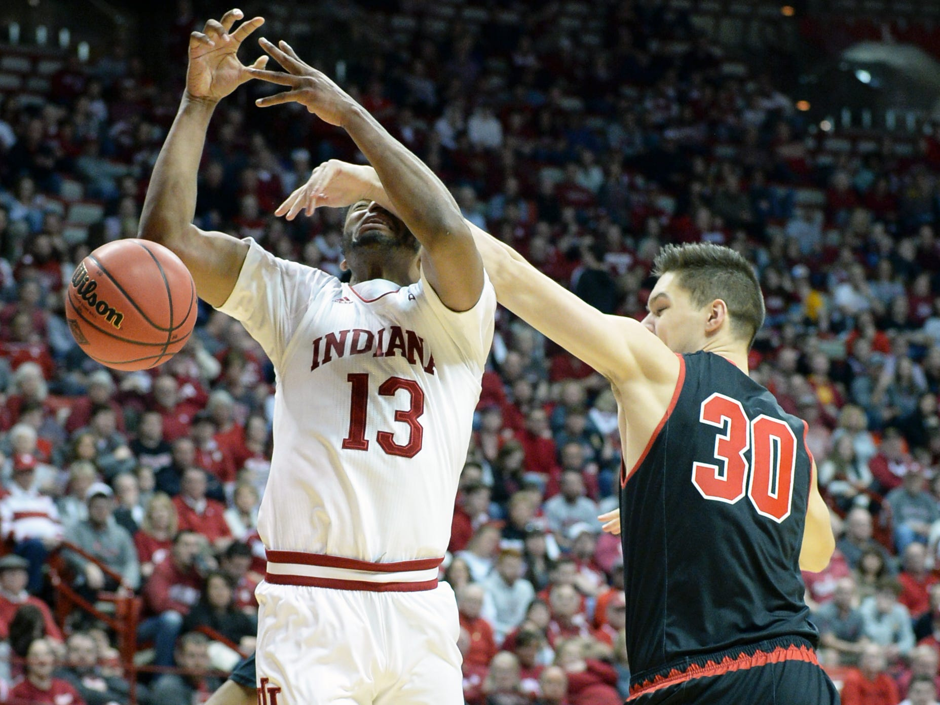 Indiana Hoosiers forward Juwan Morgan (13) is fouled while attempting a shot during the game against St. Francis (Pa.) at Simon Skjodt Assembly Hall in Bloomington Ind., on Tuesday, March 19, 2019.