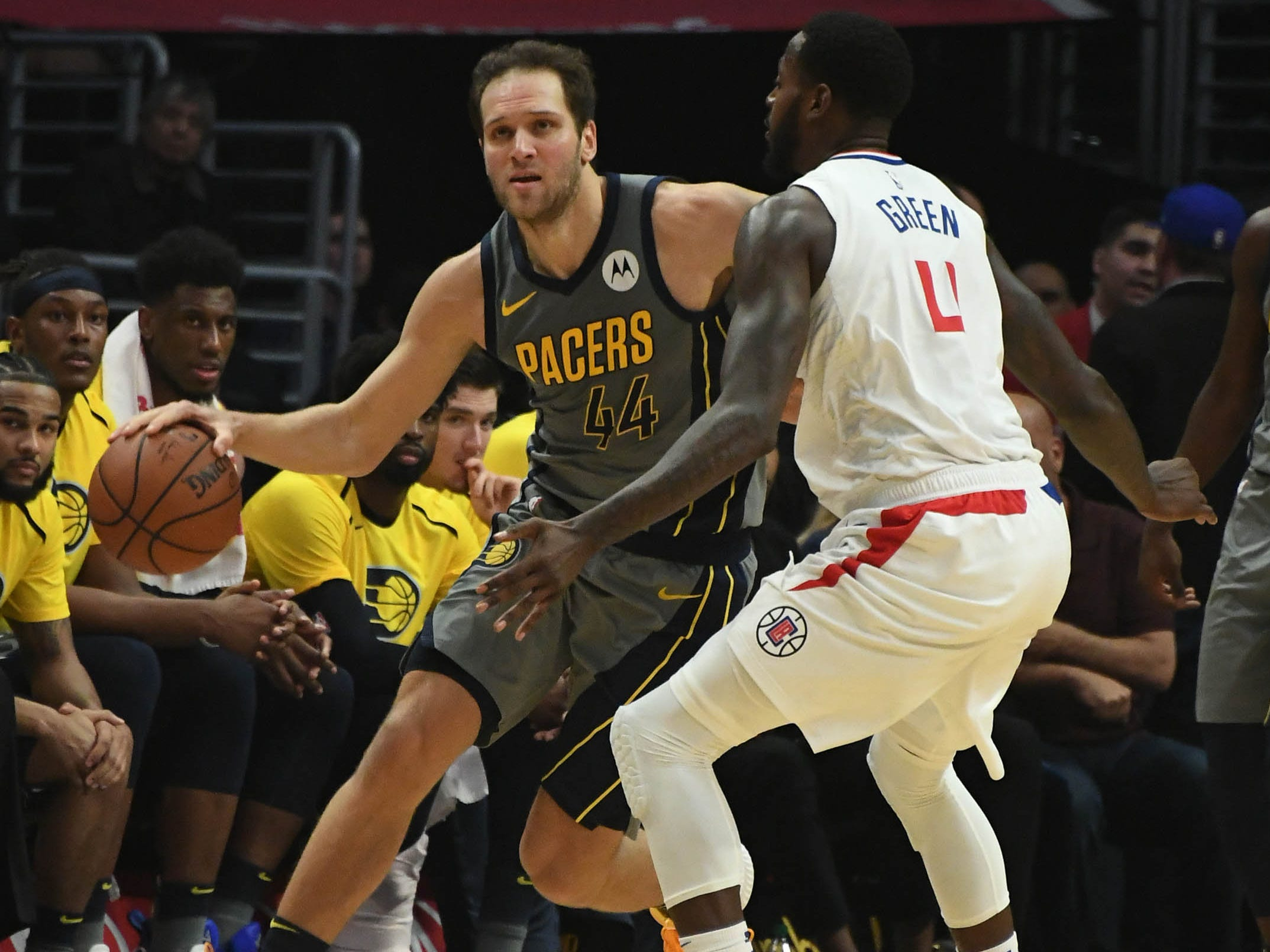 Mar 19, 2019; Los Angeles, CA, USA; Indiana Pacers forward Bojan Bogdanovic (44) controls the ball against LA Clippers forward JaMychal Green (4) in the first half at the Staples Center.