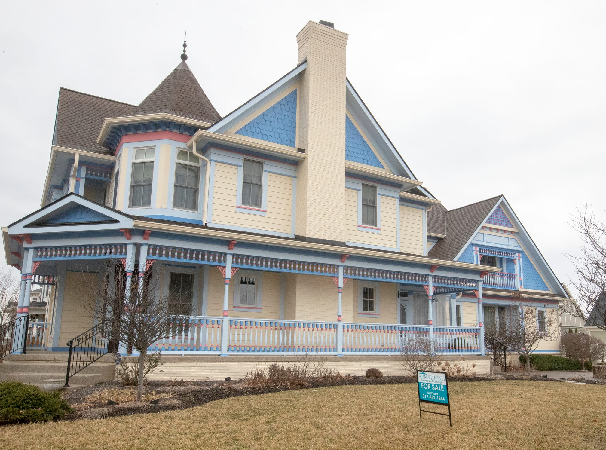 The outside of a thirteen-year-old Victorian home in the Village of West Clay, Carmel, March 20, 2019. The house includes 16 rooms with five bedrooms, 8,348 square feet, and is listed at $1.275 million.