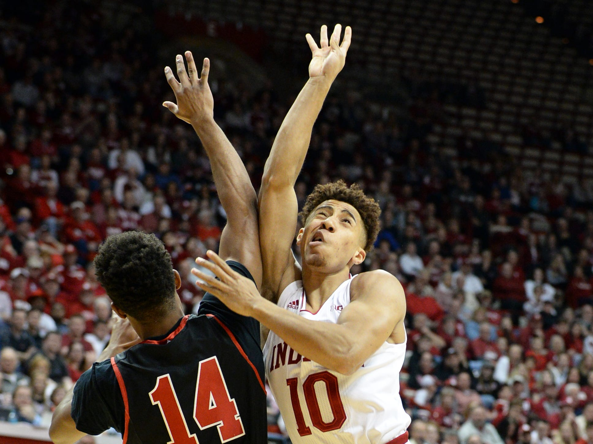Indiana Hoosiers guard Rob Phinisee (10) attempts a shot during the game against St. Francis (Pa.) at Simon Skjodt Assembly Hall in Bloomington Ind., on Tuesday, March 19, 2019.