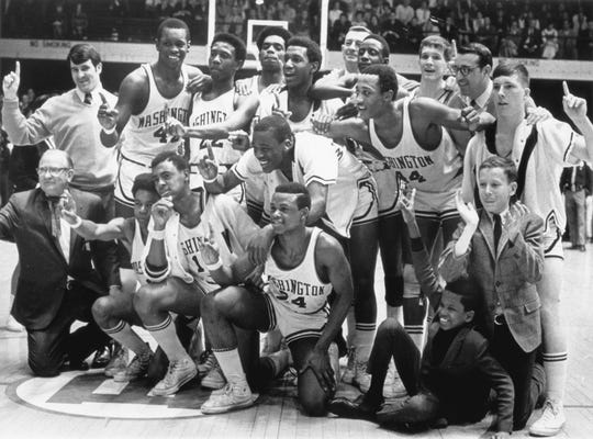 1969 Washington  H.S basketball team after their state final victory