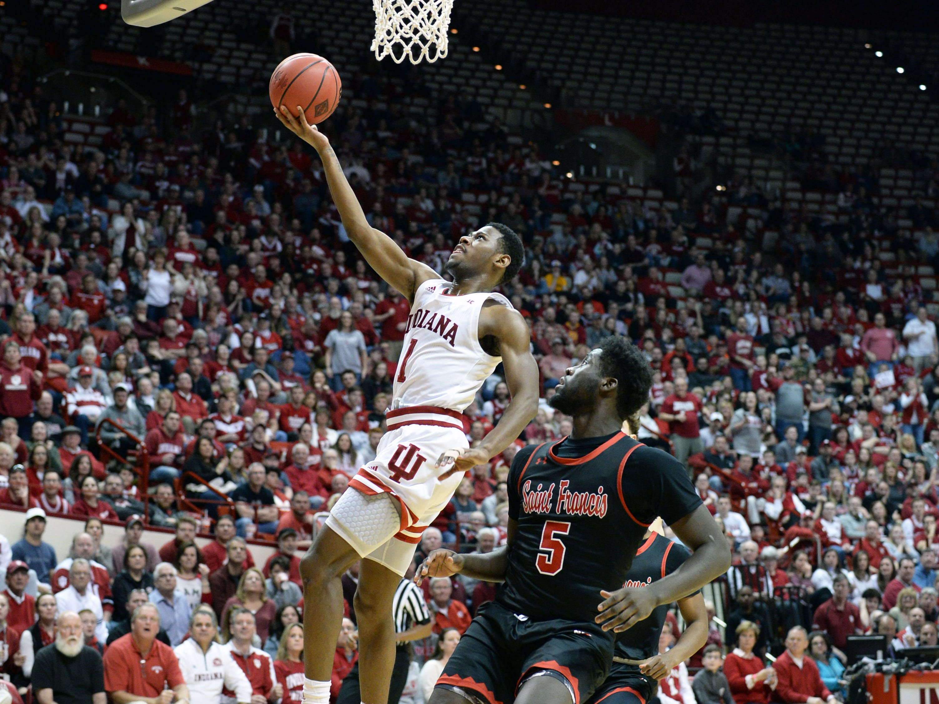 Indiana Hoosiers guard Al Durham (1) lays the ball in during the game against St. Francis (Pa.) at Simon Skjodt Assembly Hall in Bloomington Ind., on Tuesday, March 19, 2019.