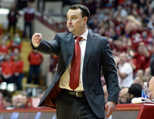 Indiana Hoosiers head coach Archie Miller directs his team during the game against St. Francis (Pa.) at Simon Skjodt Assembly Hall in Bloomington Ind., on Tuesday, March 19, 2019.