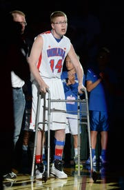 Josh Speidel was introduced for the Indiana boys All-Stars game, June 13, 2015, at Bankers Life Fieldhouse.