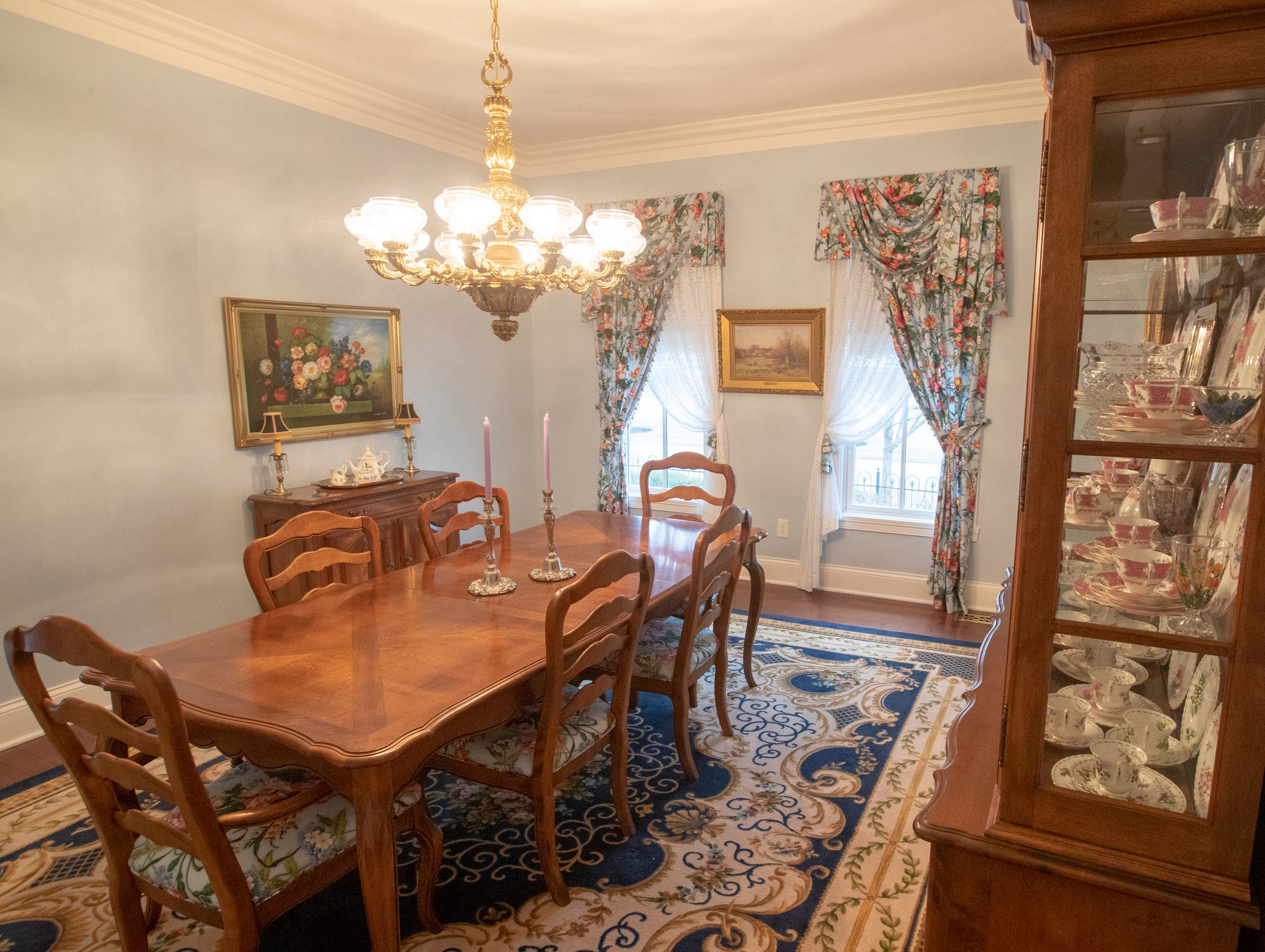 The main dining room in a thirteen-year-old Victorian home in the Village of West Clay, Carmel, March 20, 2019. The house includes 16 rooms with five bedrooms, 8,348 square feet, and is listed at $1.275 million.