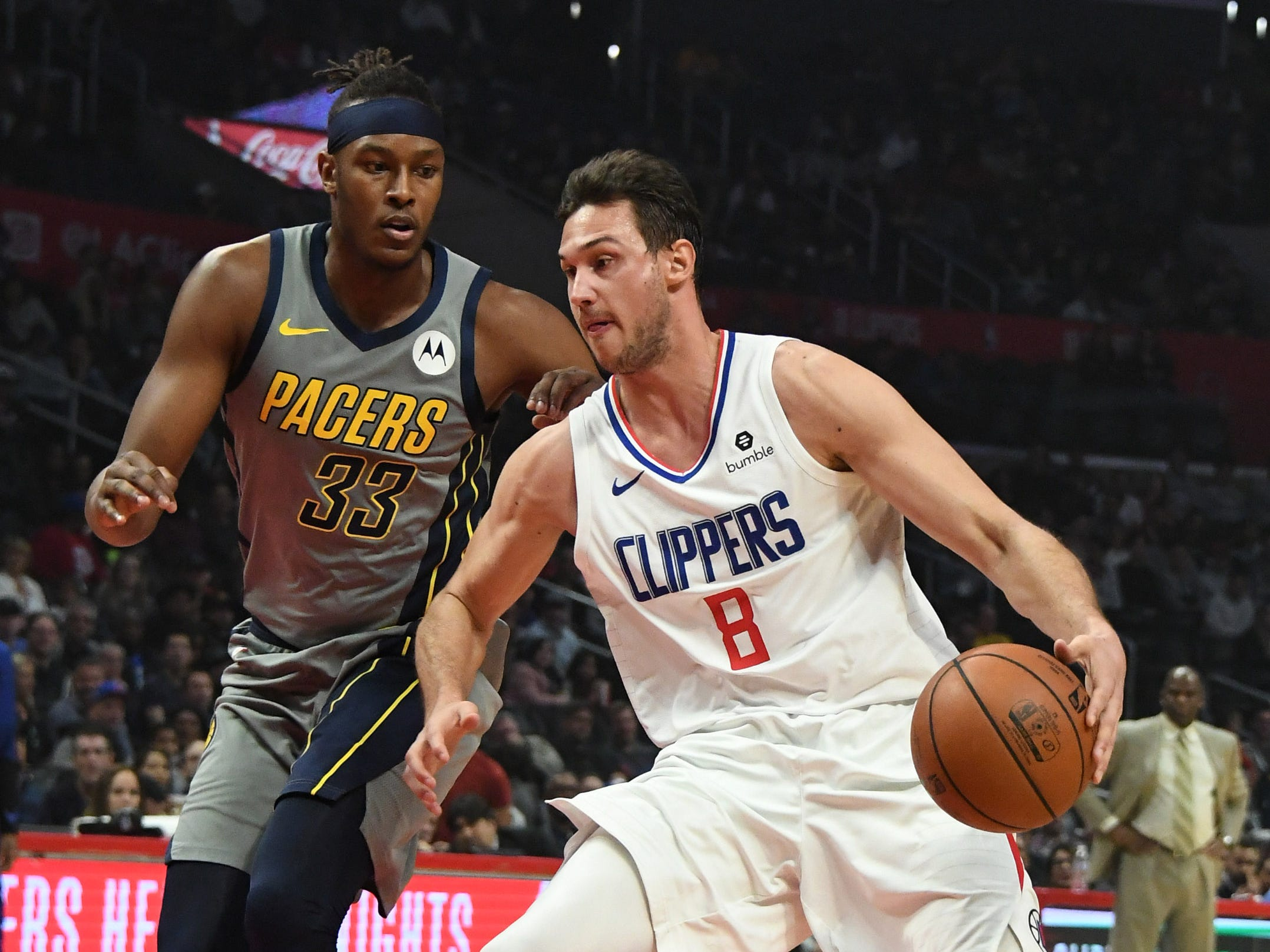 Mar 19, 2019; Los Angeles, CA, USA; LA Clippers forward Danilo Gallinari (8) drives to the basket against Indiana Pacers center Myles Turner (33) in the first half at the Staples Center.