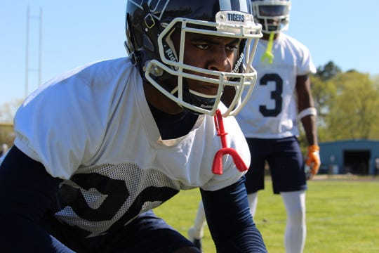 Jackson State defensive back Quinton Burns lines up to run a drill on Tuesday during the first day of spring training.