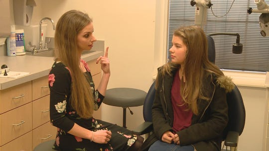 "Knoxville Audiologist Samantha Wallenstein meets with ""Bringing Up Bates"" star Addallee Bates."