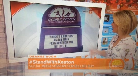 One of Ron Rayho's anti-bullying signs was featured on NBC's Today Show.