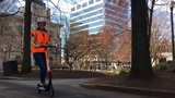 Business reporter Brenna McDermott demonstrates Knoxville's new electric scooters. Zagster is launching up to 250 Spin scooters in Knoxville.