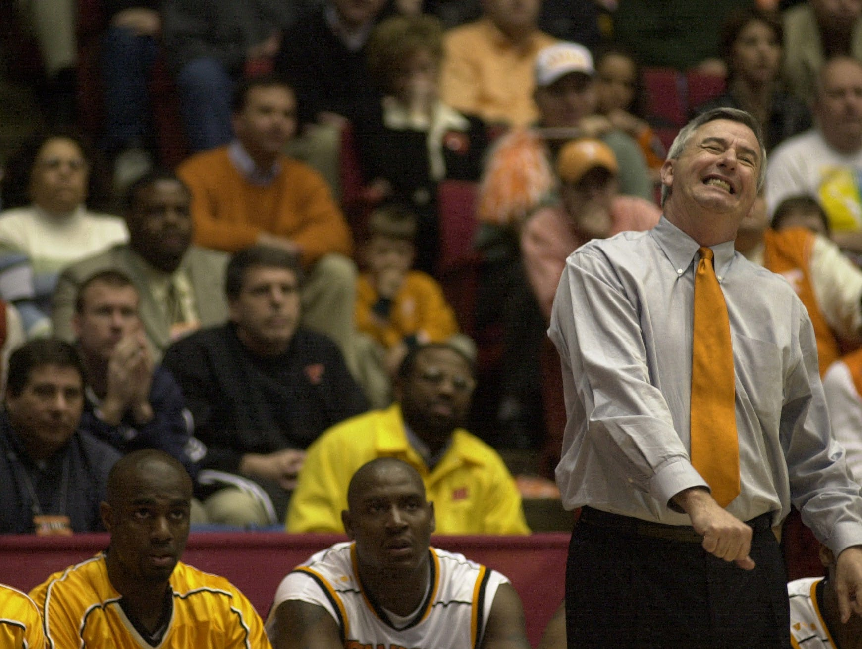 UT head coach Jerry Green reacts to a missed free throw by Ron Slay during their game against Charlotte at the University of Dayton on Friday. The Vols lost 70-63. 2001