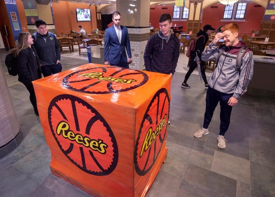 "Reese's is going all in on the ""three"" and is making special deliveries to students and fans of each of the 3-seed schools in this year's NCAA Division I Men's Basketball Tournament. These pallets contain a ""rare"" Reese's product that will be unveiled and given out two hours prior to tournament tipoff at each school, Wednesday March 20, 2019 in West Lafayette."