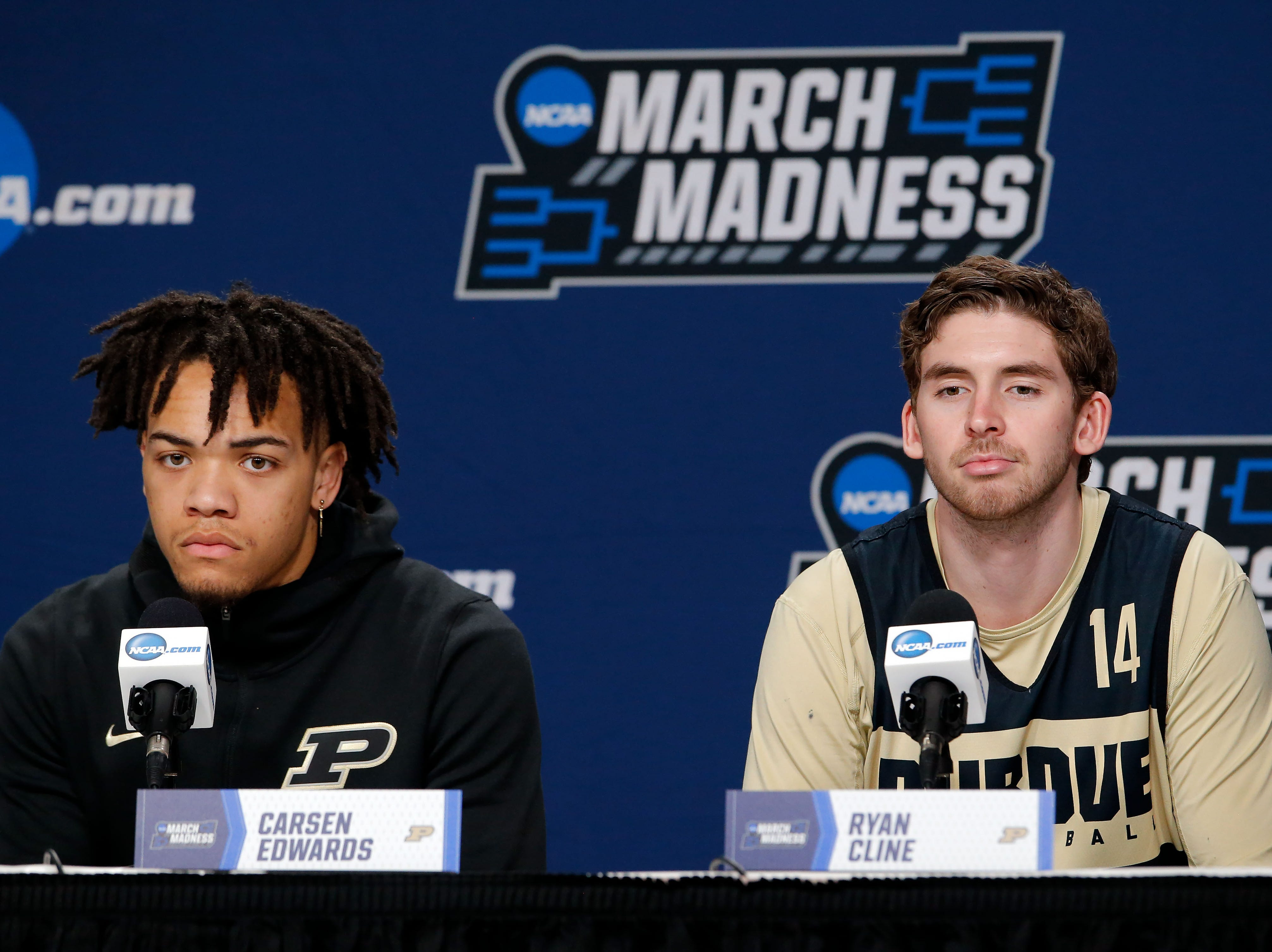 Mar 20, 2019; Hartford, CT, USA; Purdue Boilermakers guard Carsen Edwards (3) and guard Ryan Cline (14) talk with the media before practice in the first round of the 2019 NCAA Tournament at XL Center. Mandatory Credit: David Butler II-USA TODAY Sports