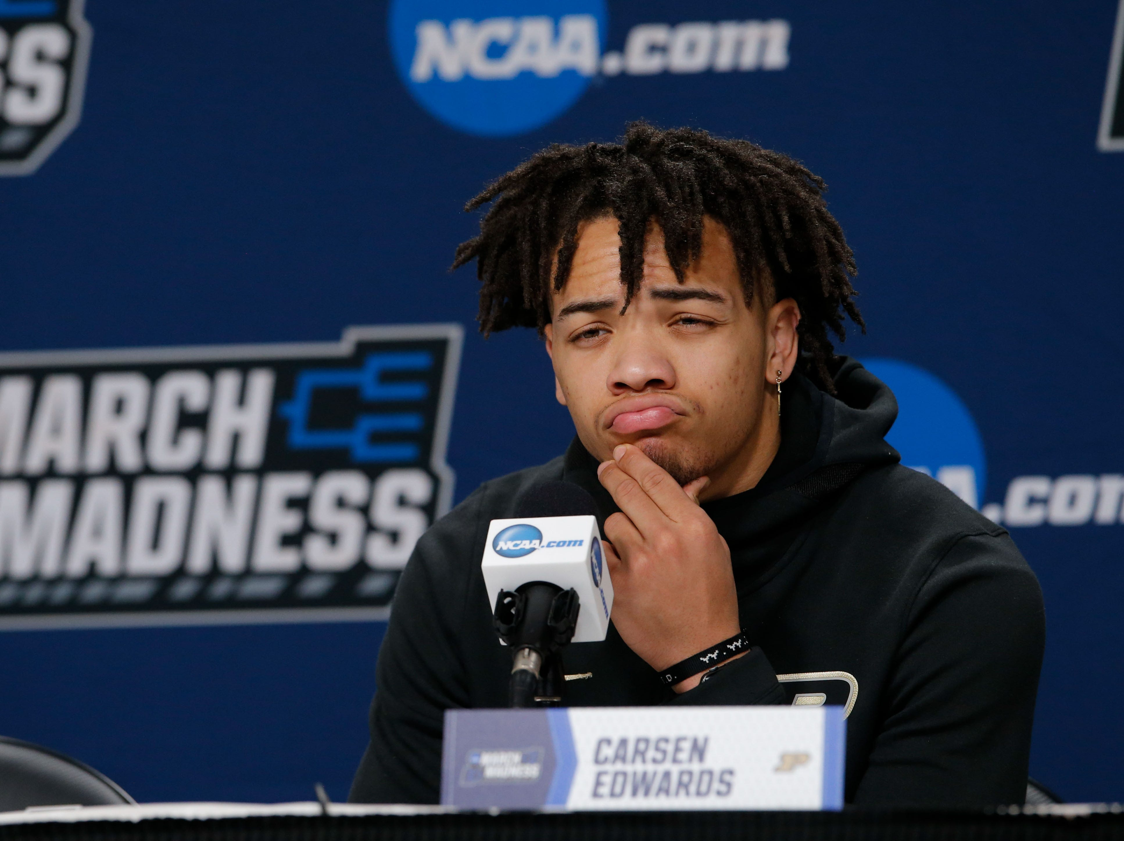 Mar 20, 2019; Hartford, CT, USA; Purdue Boilermakers guard Carsen Edwards (3) talks with media during practice before the first round of the 2019 NCAA Tournament at XL Center. Mandatory Credit: David Butler II-USA TODAY Sports