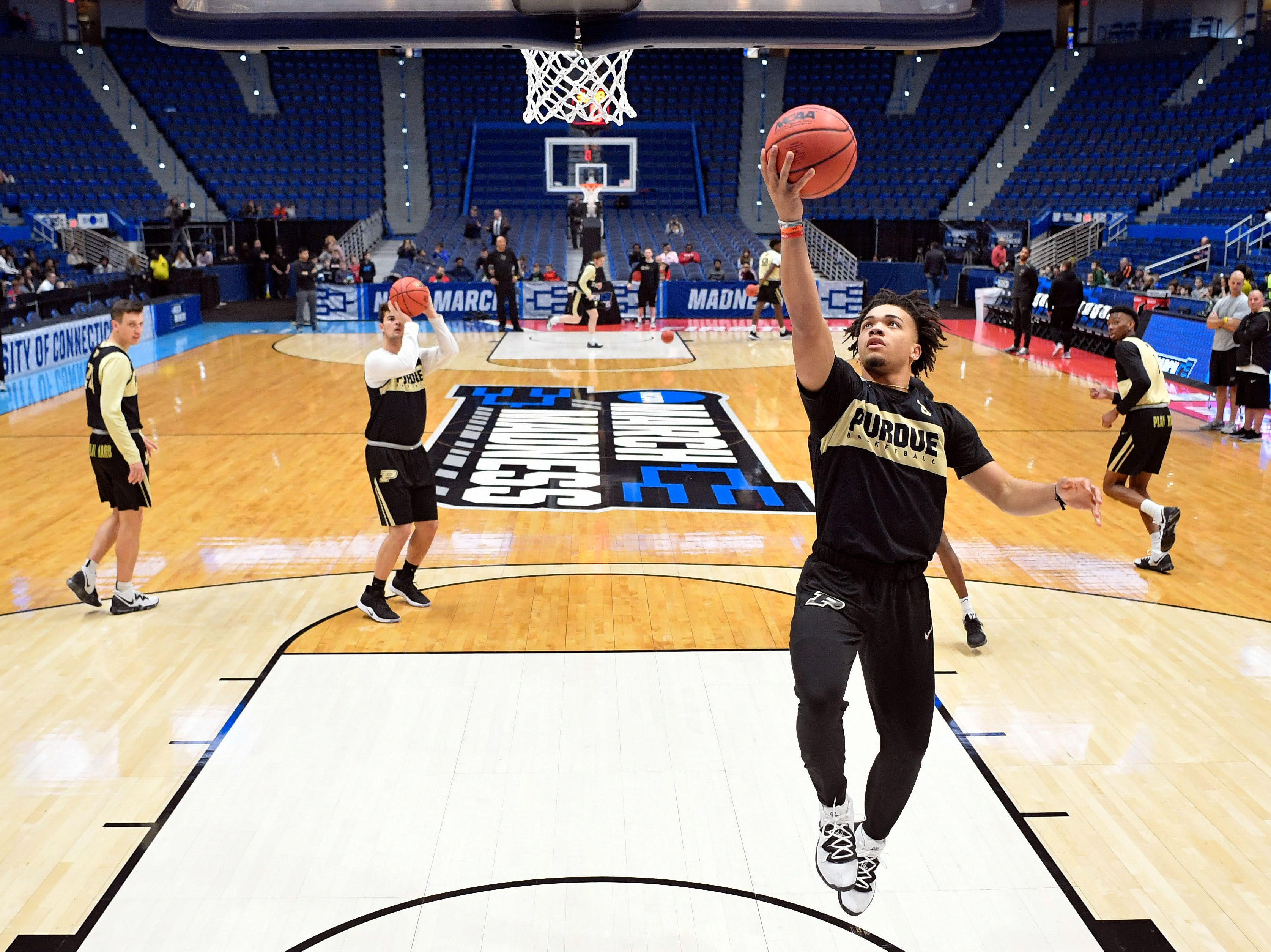 Mar 20, 2019; Hartford, CT, USA; Purdue Boilermakers guard Carsen Edwards (3) attempts a layup during practice before the first round of the 2019 NCAA Tournament at XL Center. Mandatory Credit: David Butler II-USA TODAY Sports