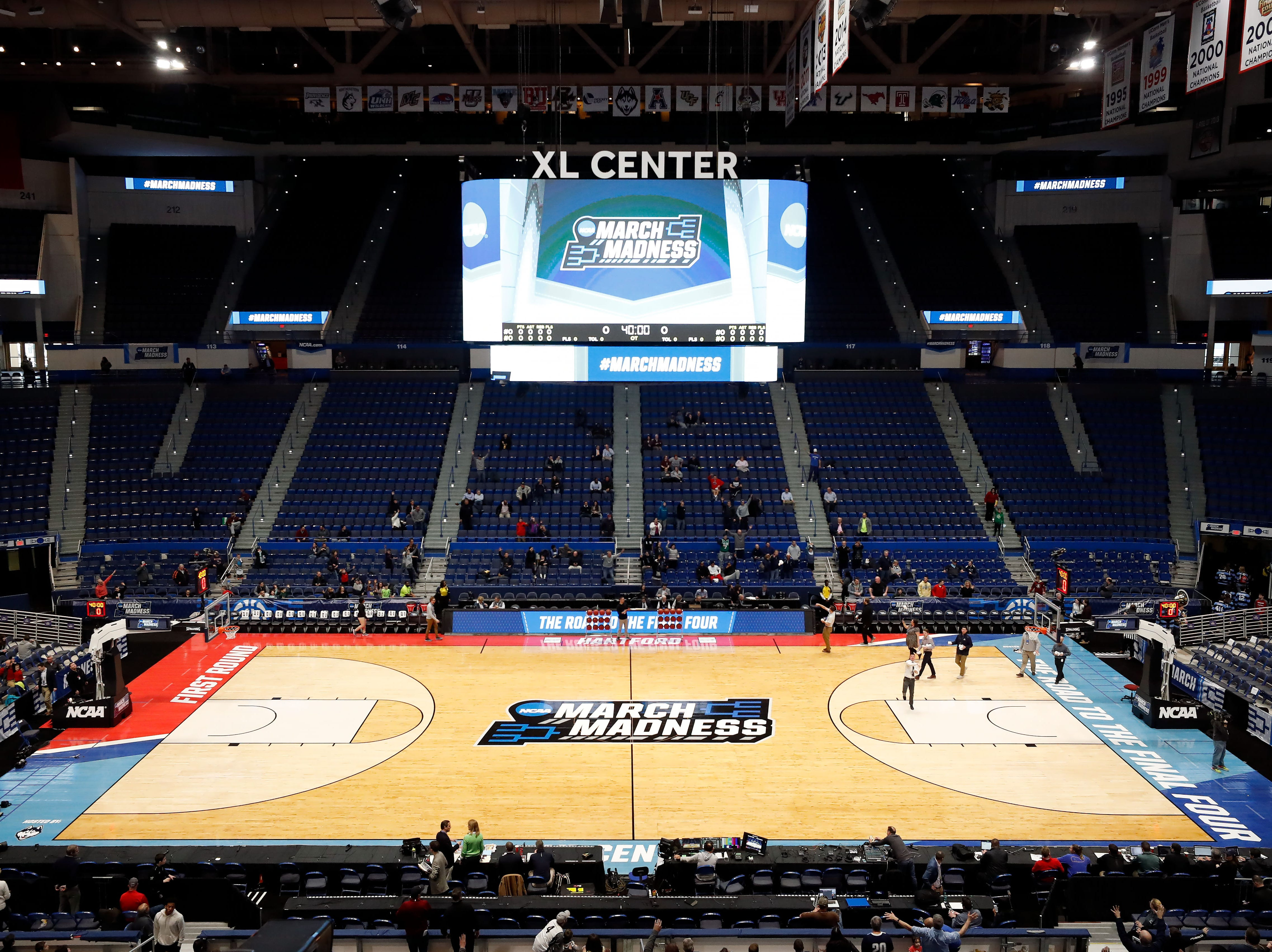 Mar 20, 2019; Hartford, CT, USA; A general view of the court during the Purdue Boilermakers practice before the first round of the 2019 NCAA Tournament at XL Center. Mandatory Credit: David Butler II-USA TODAY Sports