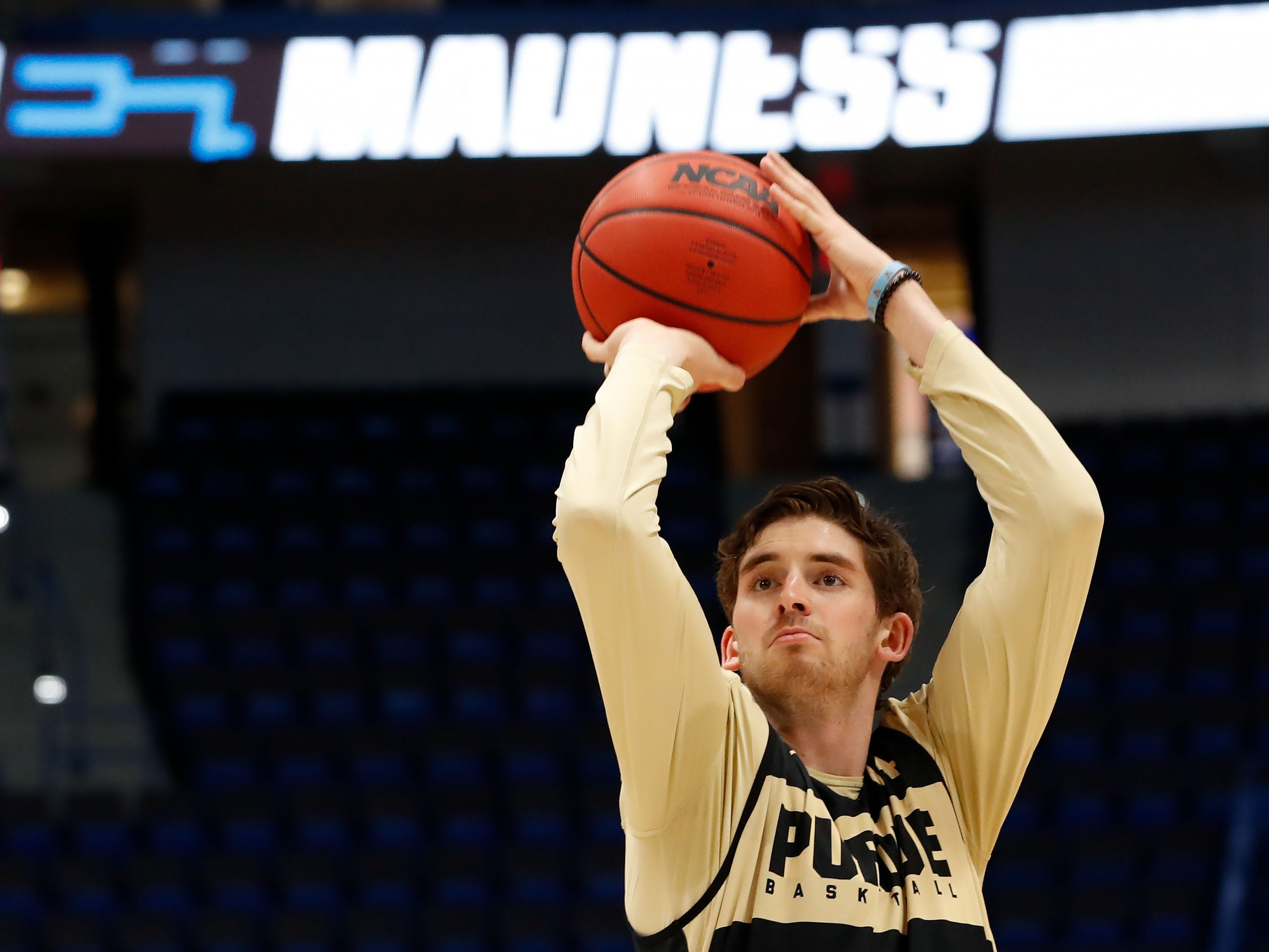 Mar 20, 2019; Hartford, CT, USA; Purdue Boilermakers guard Ryan Cline (14) attempts a shot during practice before the first round of the 2019 NCAA Tournament at XL Center. Mandatory Credit: David Butler II-USA TODAY Sports