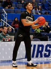 Mar 20, 2019; Hartford, CT, USA; Purdue Boilermakers guard Carsen Edwards (3) during practice before the first round of the 2019 NCAA Tournament at XL Center. Mandatory Credit: David Butler II-USA TODAY Sports