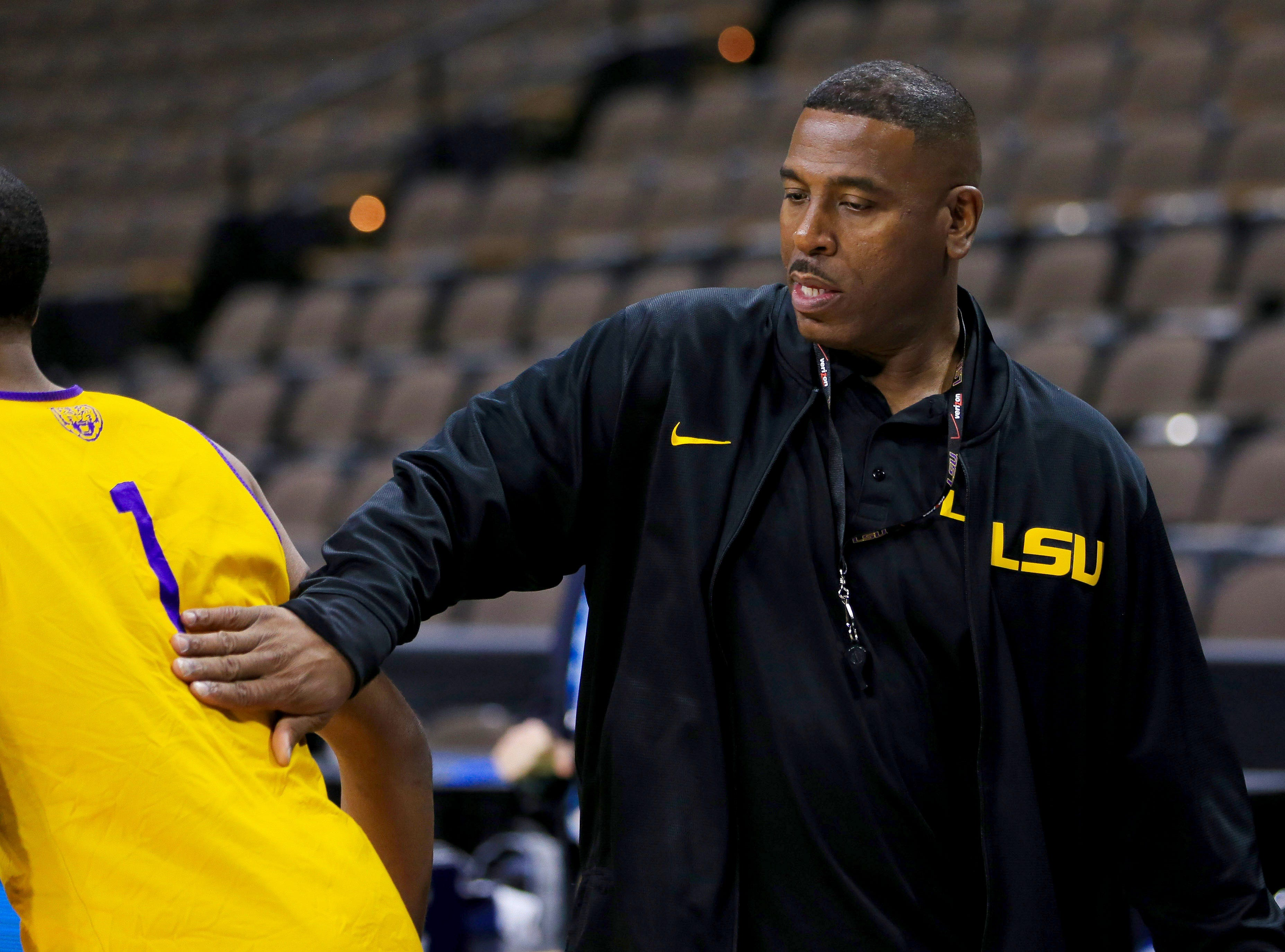 Mar 20, 2019; Jacksonville, FL, USA; LSU Tigers interim head coach Tony Benford during practice day before the first round of the 2019 NCAA Tournament at Jacksonville Veterans Memorial Arena. Mandatory Credit: Matt Stamey-USA TODAY Sports