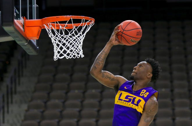 Mar 20, 2019; Jacksonville, FL, USA; LSU Tigers forward Emmitt Williams (24) during practice day before the first round of the 2019 NCAA Tournament at Jacksonville Veterans Memorial Arena. Mandatory Credit: Matt Stamey-USA TODAY Sports