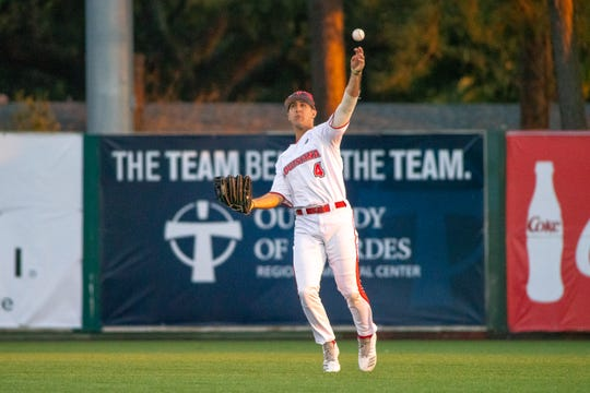 UL's Brennan Breaux throws from centerfield during a game against Northwestern State last season. Breaux is expected to play in the outfield and pitch this season.