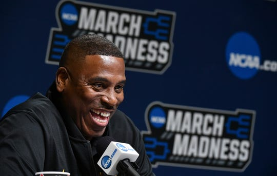 Mar 20, 2019; Jacksonville, FL, USA; LSU Tigers interim head coach Tony Benford talks to the media during practice day before the first round of the 2019 NCAA Tournament at Jacksonville Veterans Memorial Arena. Mandatory Credit: John David Mercer-USA TODAY Sports