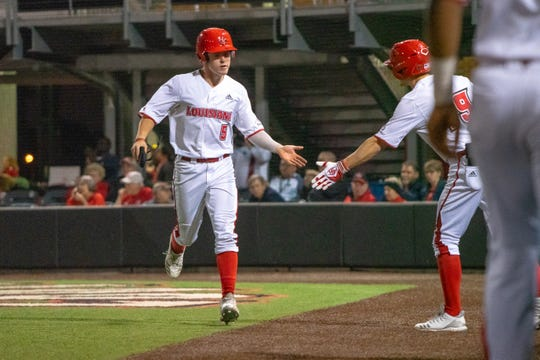 UL's Hayden Cantrelle is congratulated by his teammates while heading back to the dugout Tuesday. He hit for the cycle in an 8-3 win over Northwestern State.