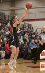 Hartland freshman Gracey Metz hits one of her two 3-pointers in a 44-24 loss to Saginaw Heritage in a state quarterfinal game at Grand Blanc on Tuesday, March 19, 2019.