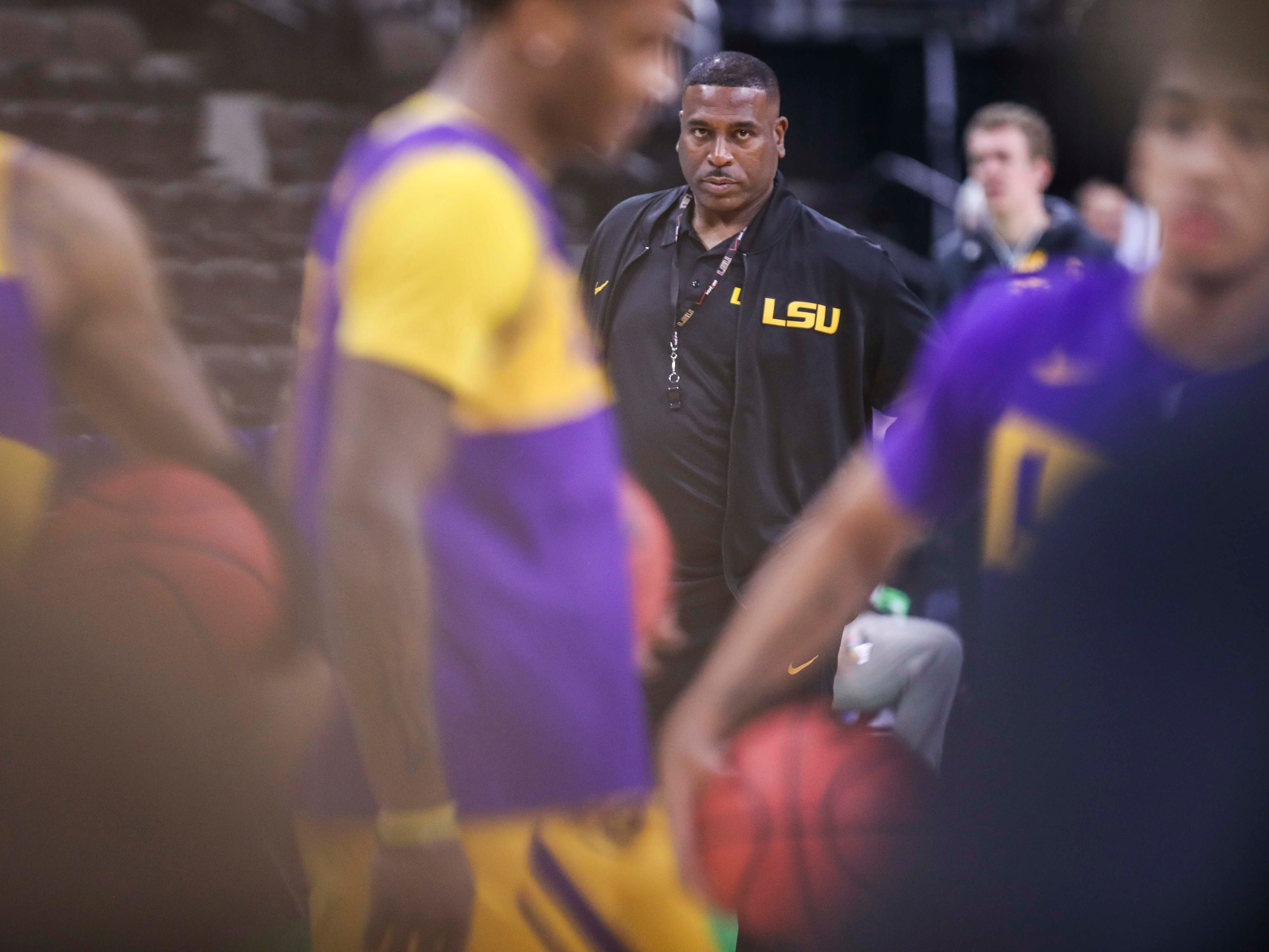 Tony Benford watches practice in Jacksonville at the Midwest Region Wednesday afternoon. Benford took over as interim head coach of LSU after Will Wade was indefinitely suspended. March 20, 2019