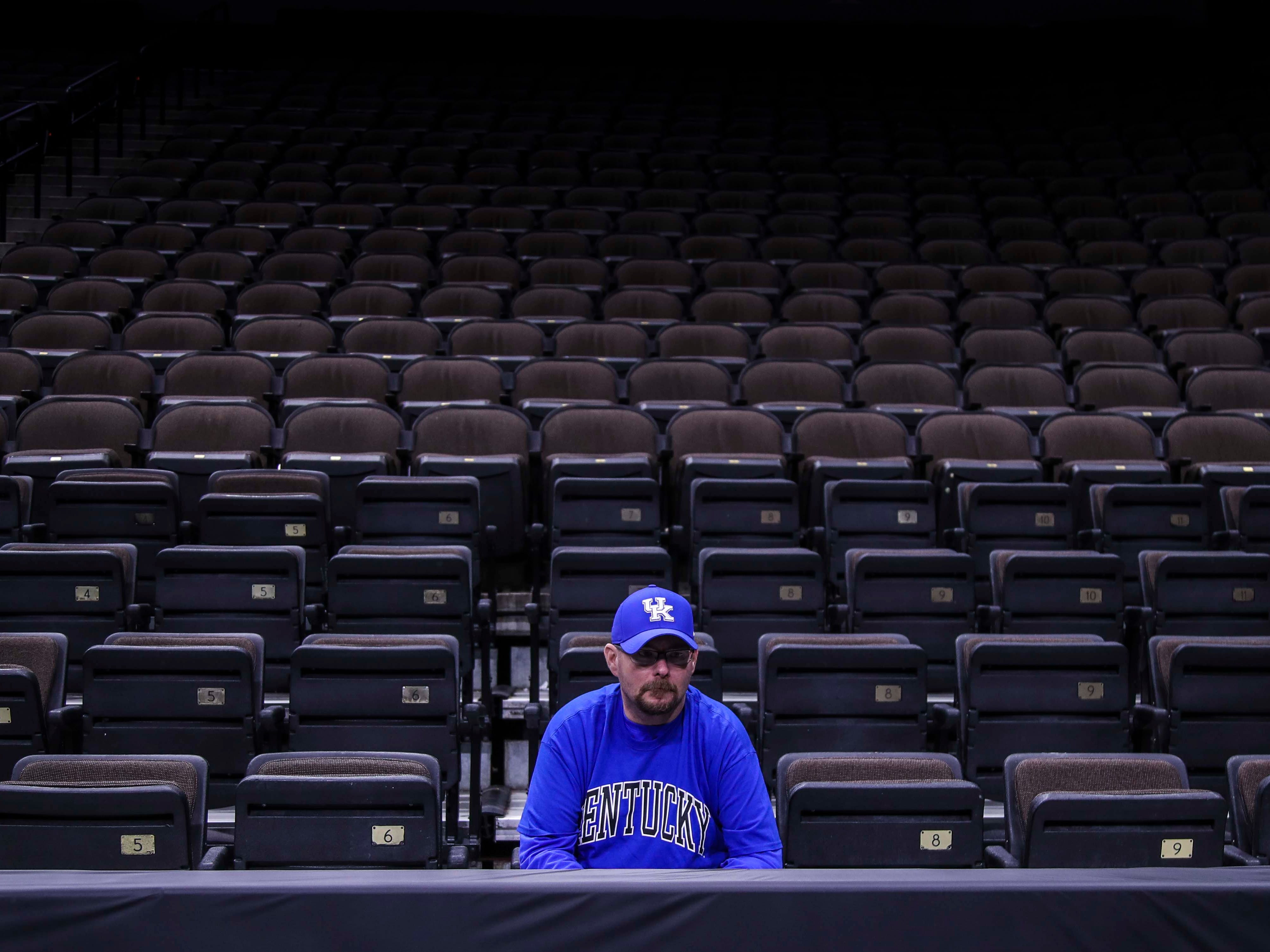 Jacksonville resident David Anderson was the first Kentucky fan in the VyStar Veterans Memorial Arena for open practice Wednesday morning before the start of the Midwest Region of the NCAA tournament. March 20, 2019