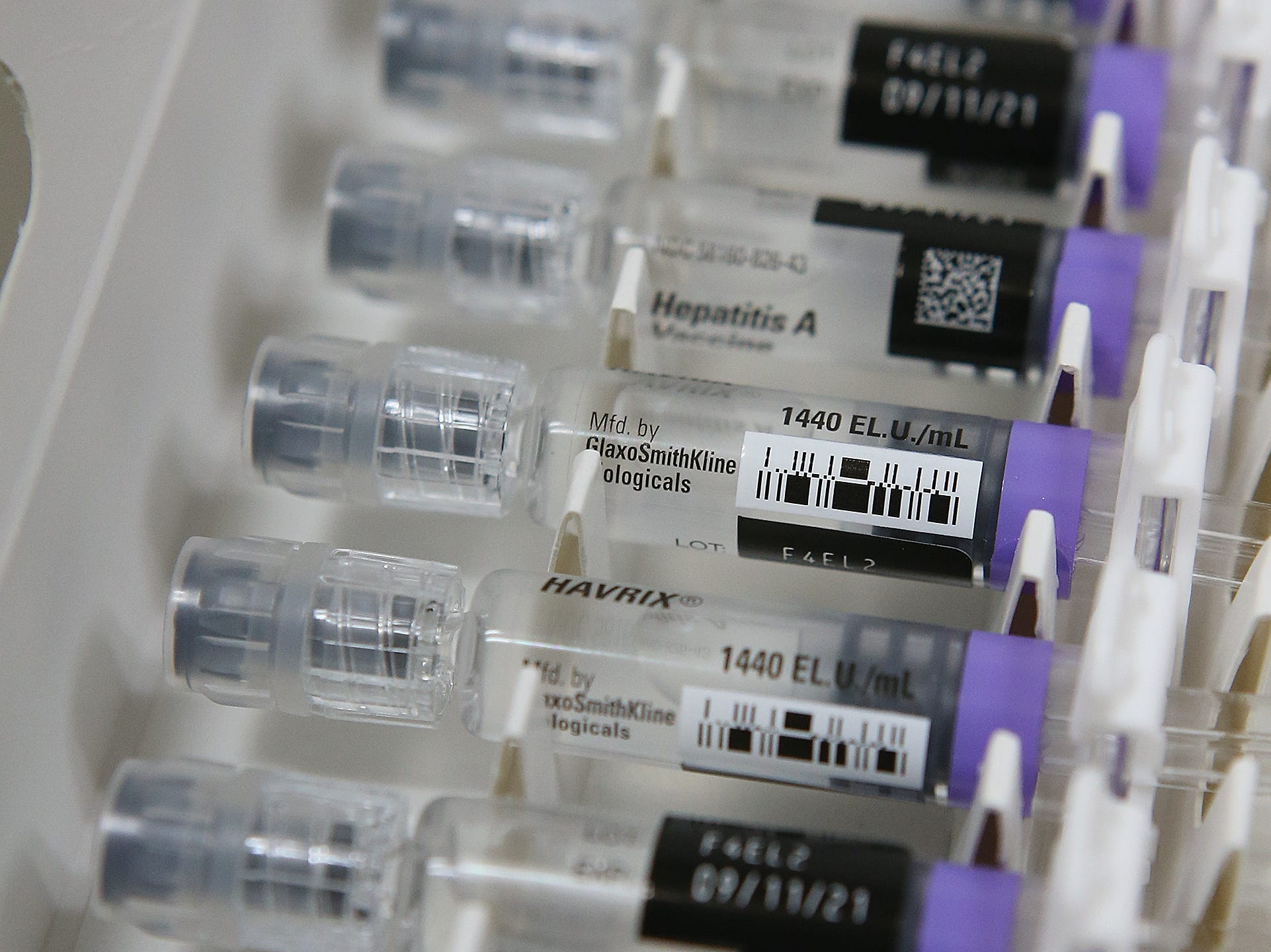 Vials of the hepatitis A vaccination that Sharon Wesley brought with her to the Pulaski County Detention Center to vaccinate inmates.  About 90 percent of inmates opt to get vaccinated.
