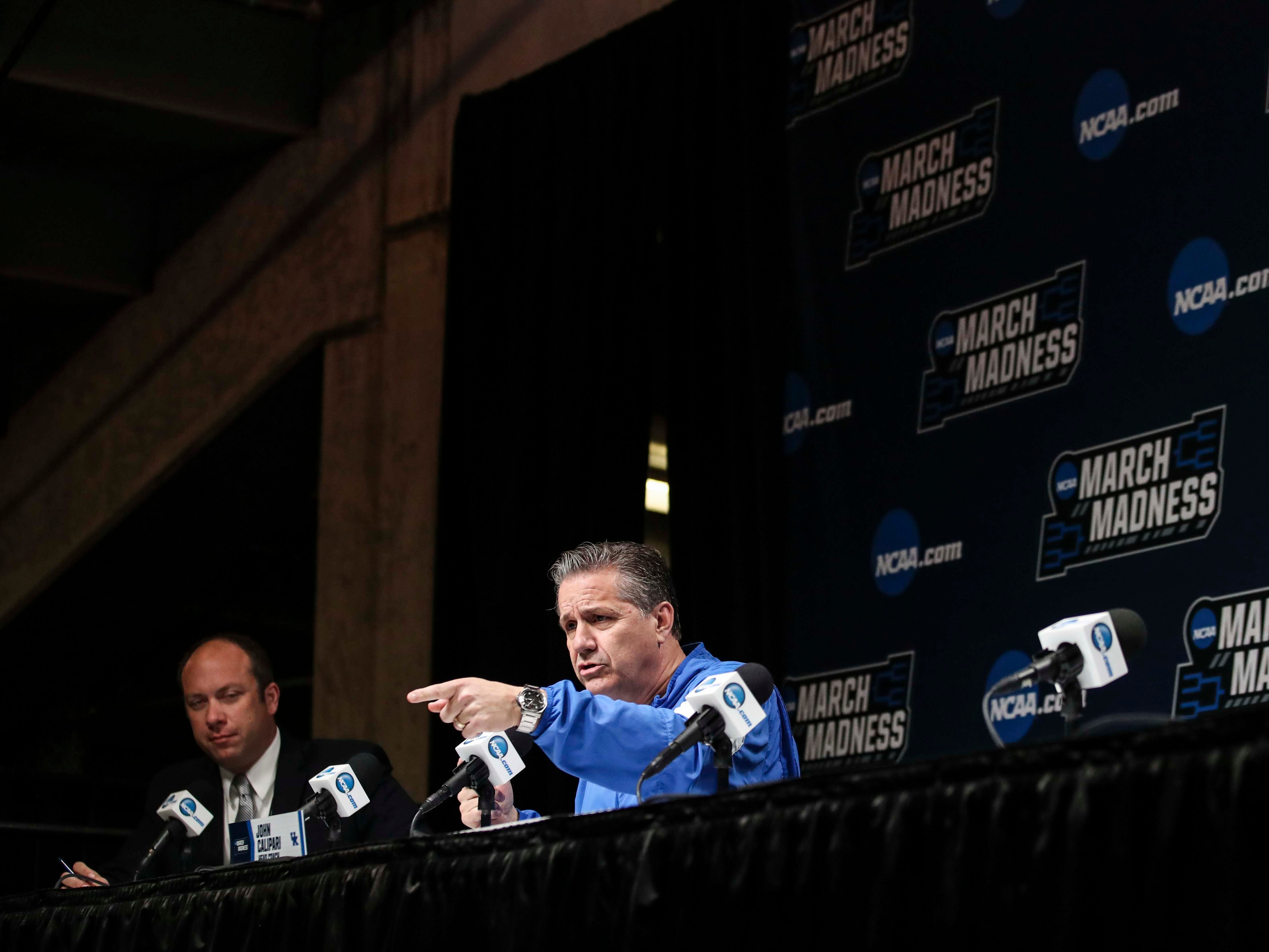 Kentucky's John Calipari answered questions from the media during the NCAA tourney practice Wednesday afternoon in Jacksonville. March 20, 2019