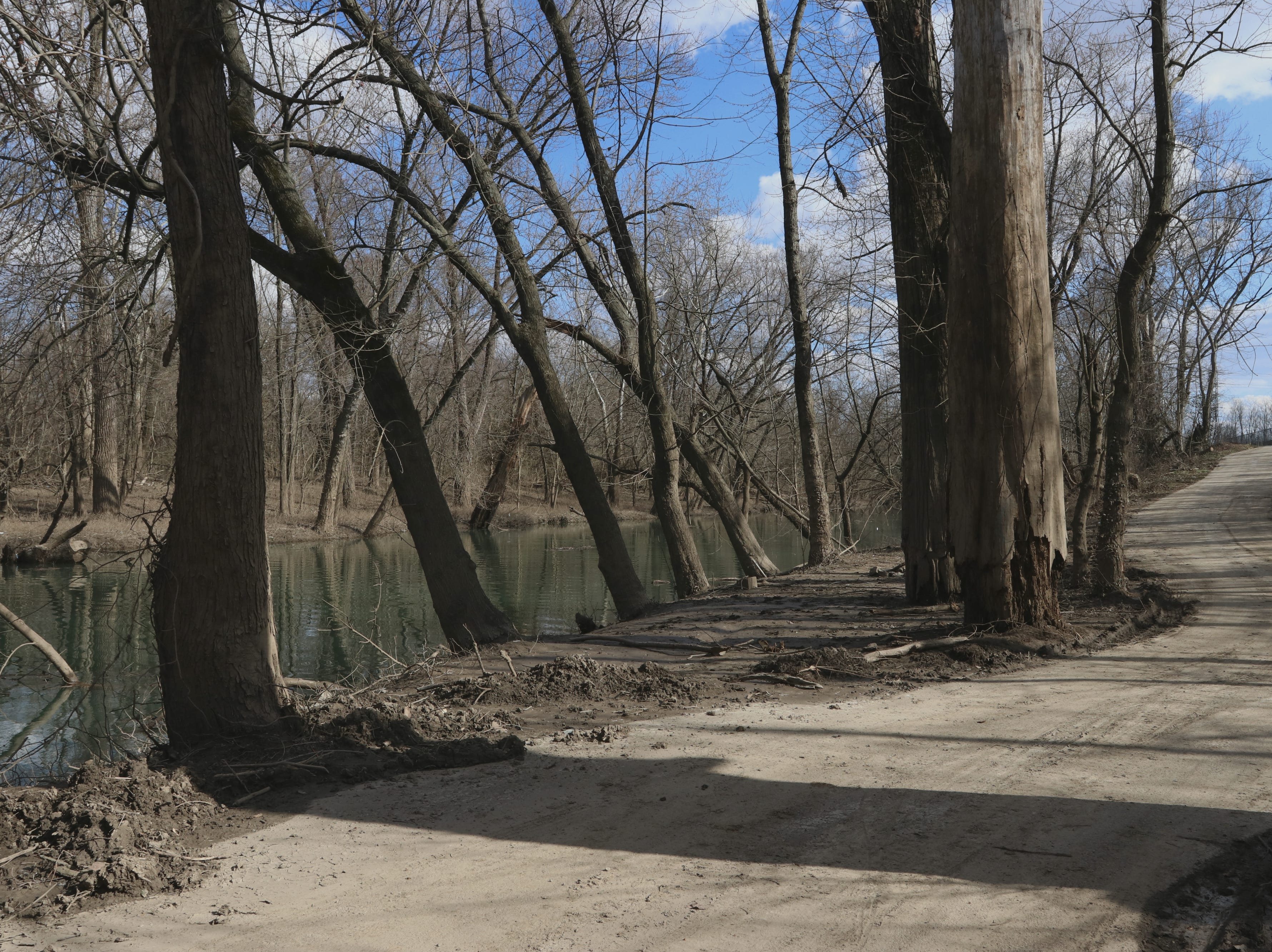 A path runs alongside Beargrass Creek at Eva Bandman Park near downtown Louisville.