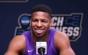Abilene Christian's Jaylen Franklin talks about facing UK during a media session Wednesday.