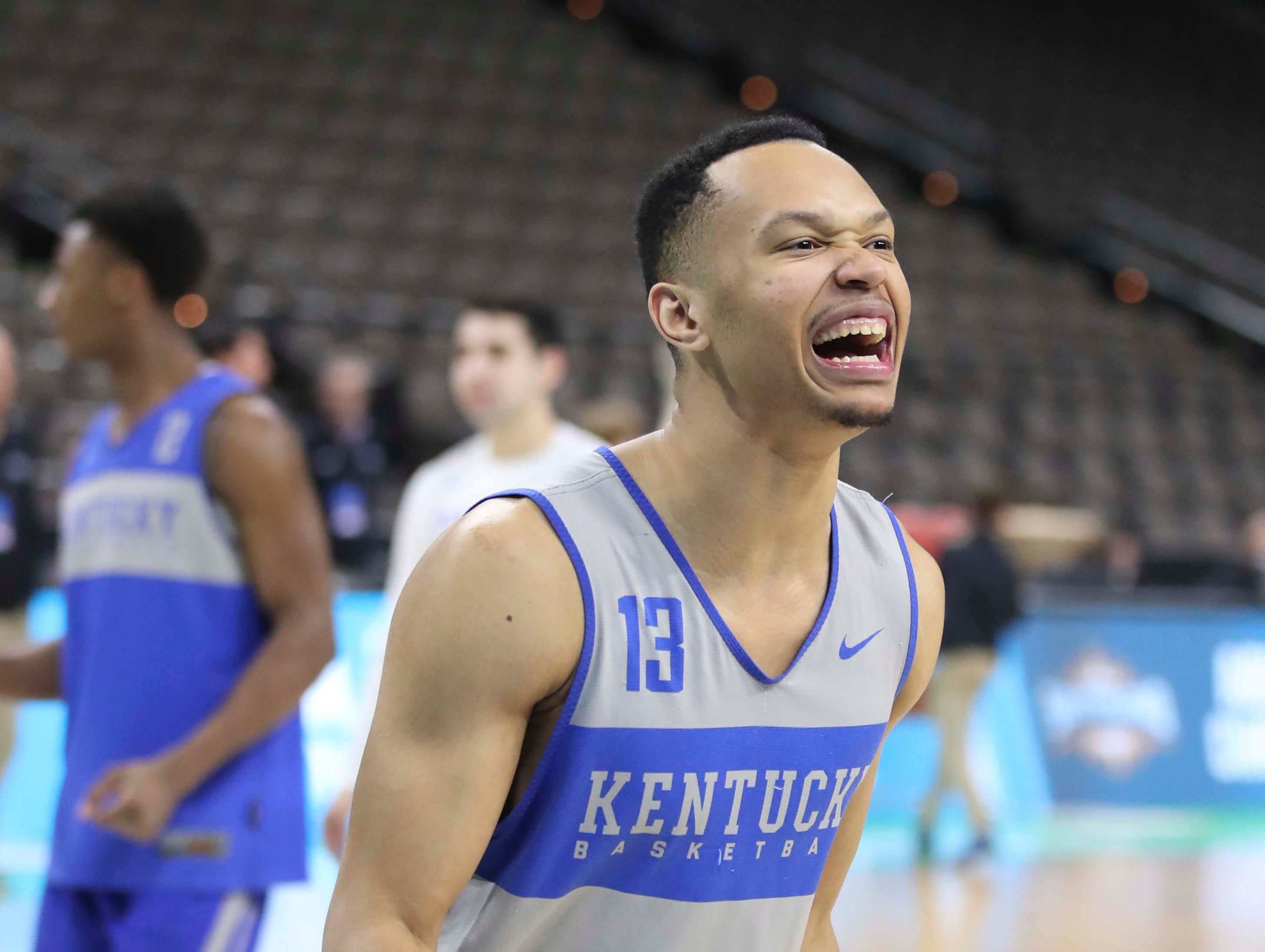Kentucky's Jemarl Baker was excited during tourney practice Wednesday afternoon in Jacksonville. March 20, 2019
