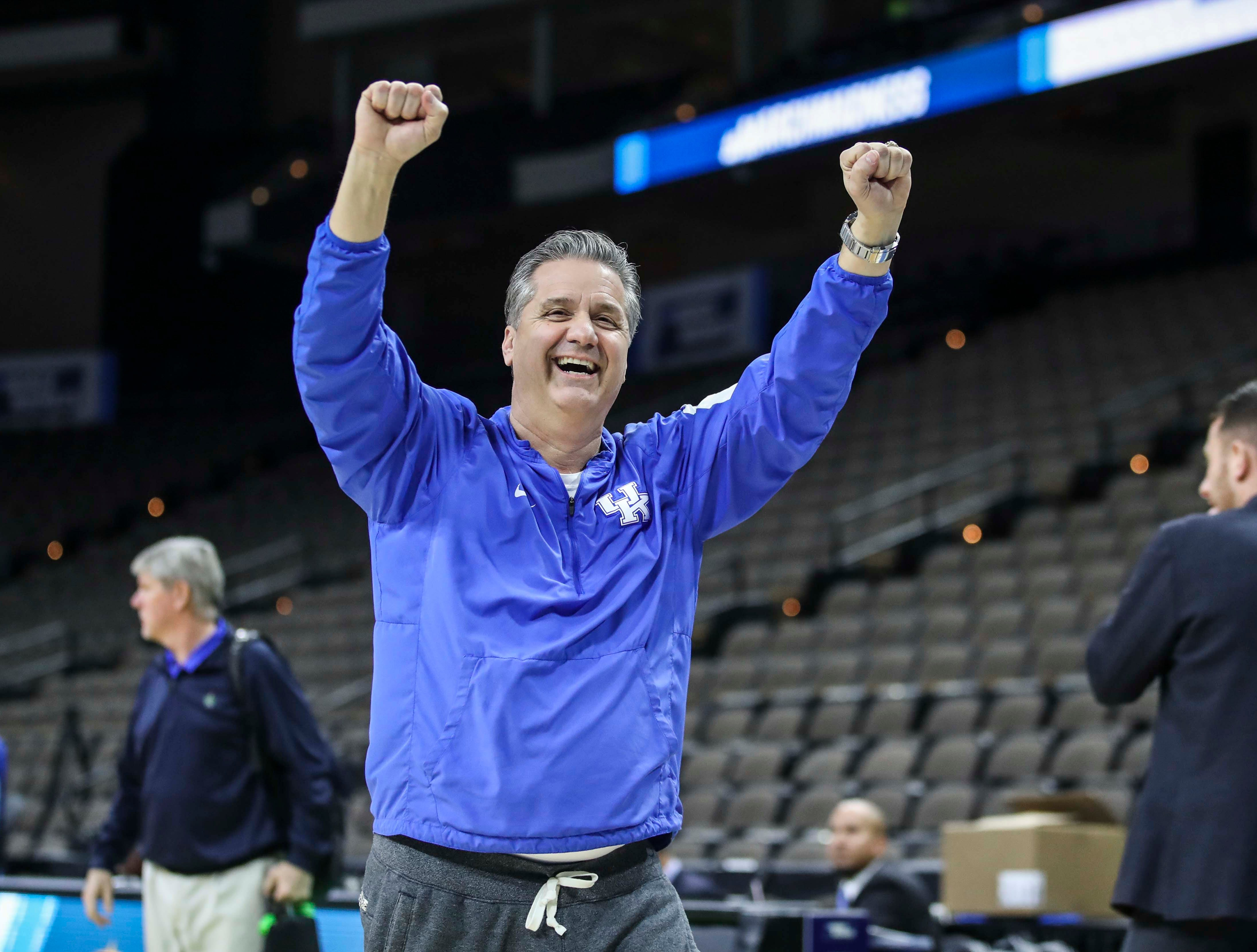 Kentucky coach John Calipari cheered as he spotted Belmont coach Rick Byrd during tourney practice Wednesday afternoon in Jacksonville. March 20, 2019