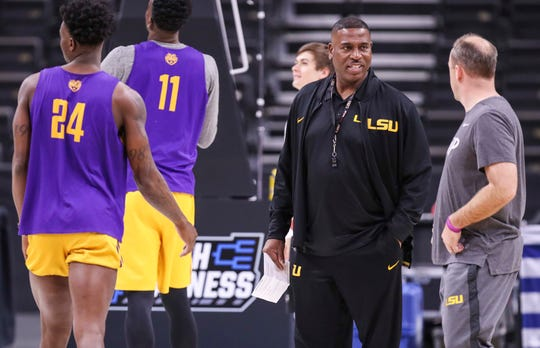 Tony Benford watches practice in Jacksonville, Florida, on Wednesday afternoon. Benford took over as interim head coach of LSU after Will Wade was indefinitely suspended. March 20, 2019