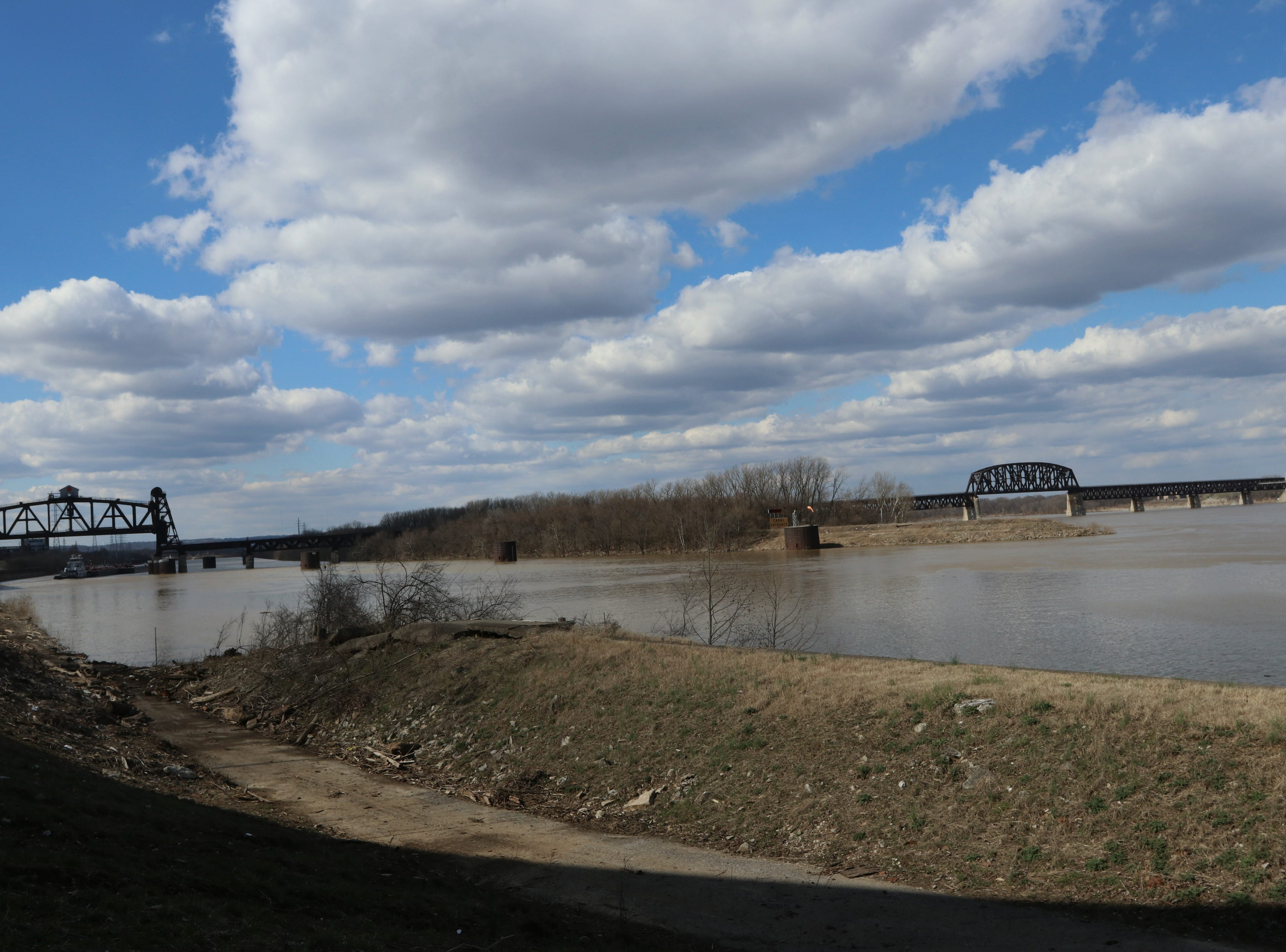A view of the Ohio River from a pedestrian path in Louisville's Portland neighborhood.