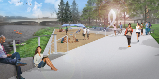 A rendering of the beach at Rotary Park.