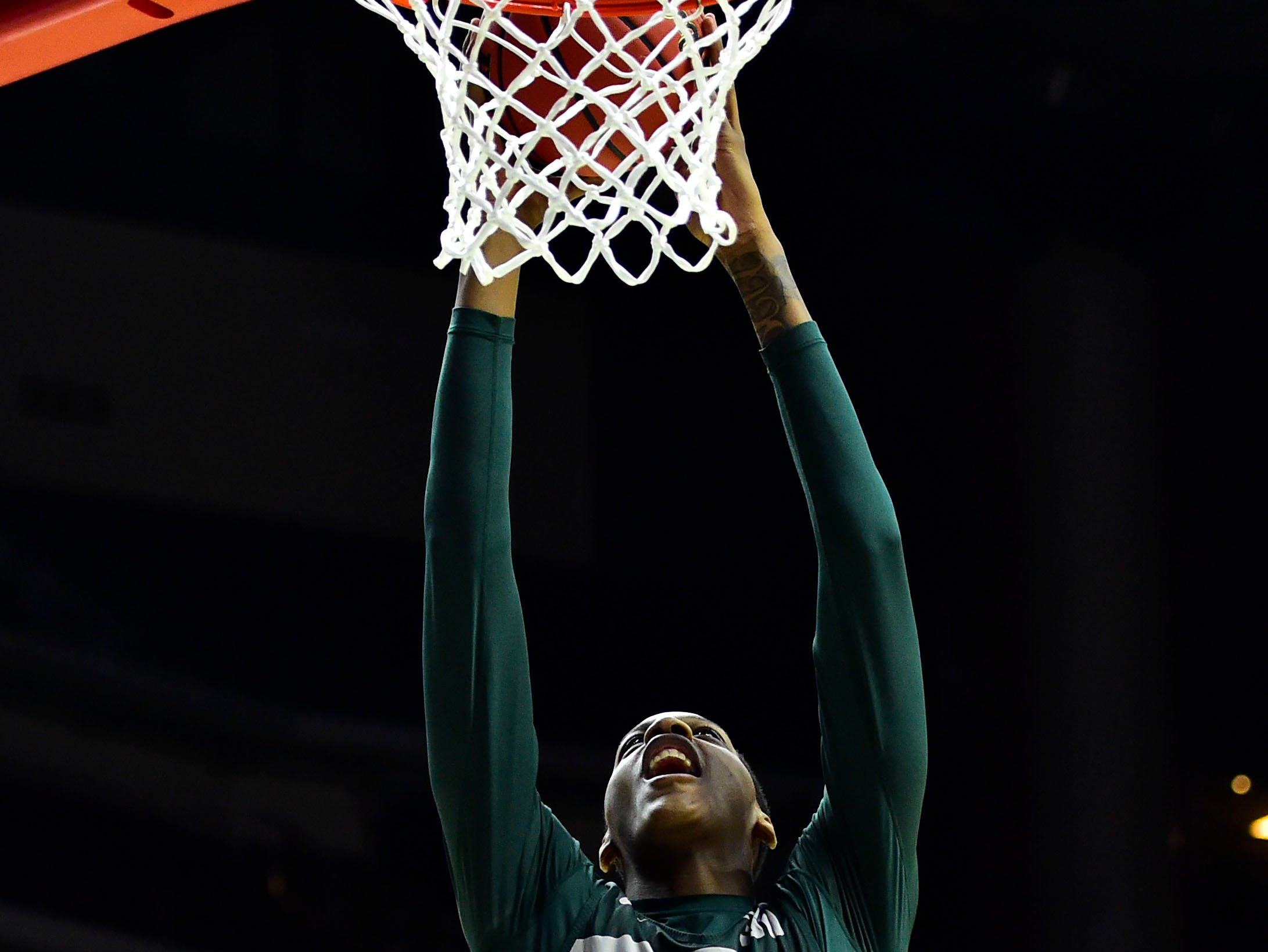 Mar 20, 2019; Des Moines, IA, USA; Michigan State Spartans forward Marcus Bingham Jr. (30) shoots the ball during practice before the first round of the 2019 NCAA Tournament at Wells Fargo Arena. Mandatory Credit: Jeffery Becker-USA TODAY Sports
