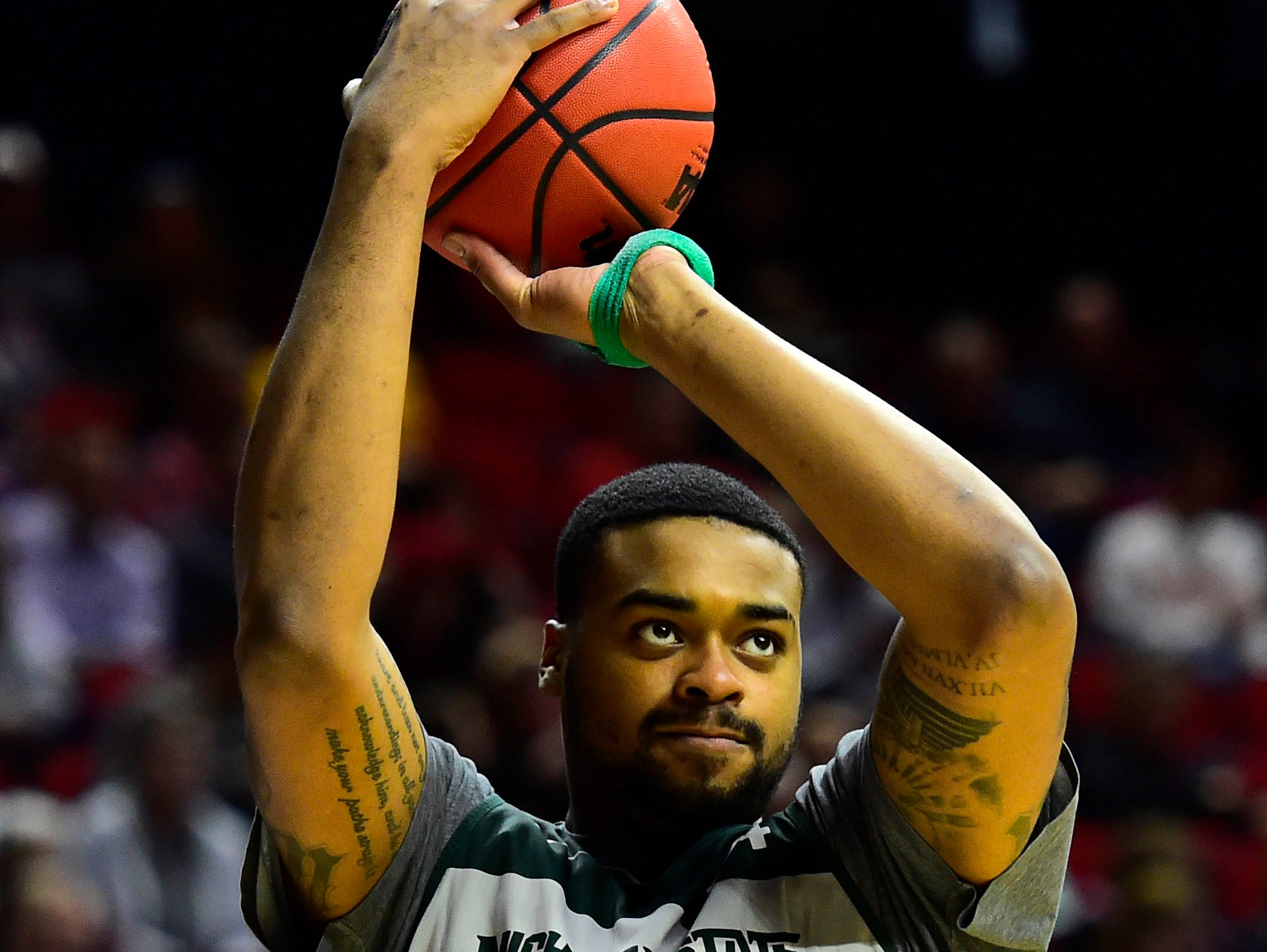 Mar 20, 2019; Des Moines, IA, USA; Michigan State Spartans forward Nick Ward (44) during practice before the first round of the 2019 NCAA Tournament at Wells Fargo Arena. Mandatory Credit: Jeffery Becker-USA TODAY Sports
