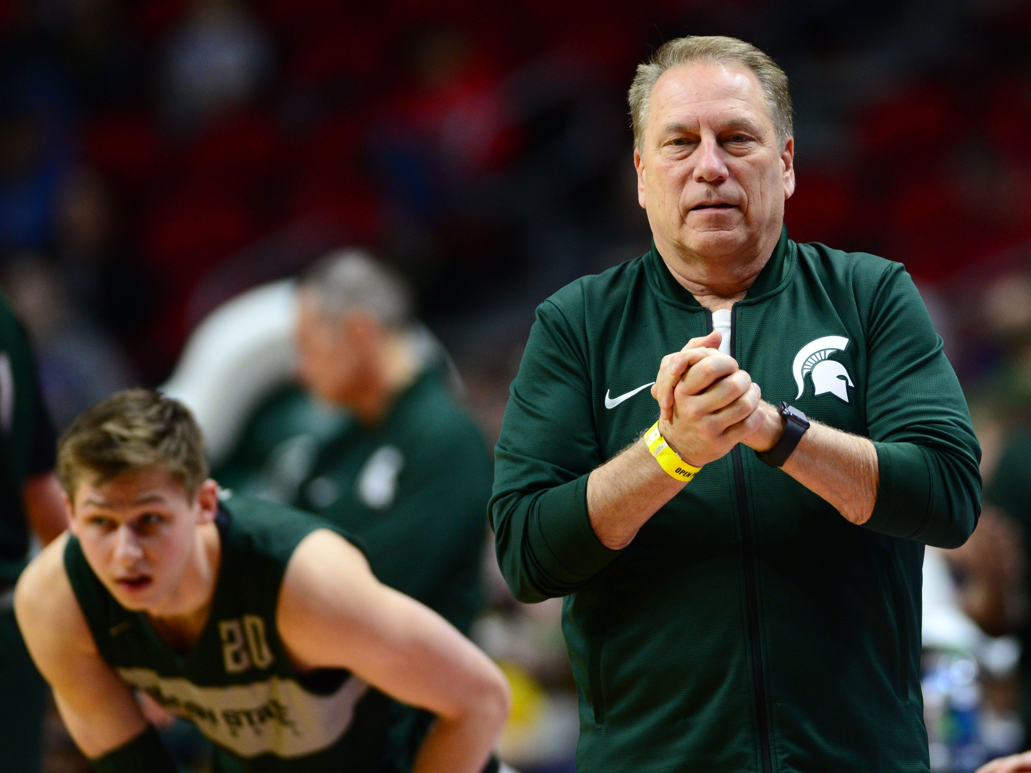 Mar 20, 2019; Des Moines, IA, USA; Michigan State Spartans head coach Tom Izzo during practice before the first round of the 2019 NCAA Tournament at Wells Fargo Arena. Mandatory Credit: Jeffery Becker-USA TODAY Sports
